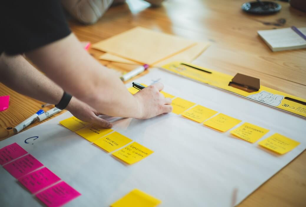 Profissional estruturando os processos de RH com ajuda de cartolinas e post-its.